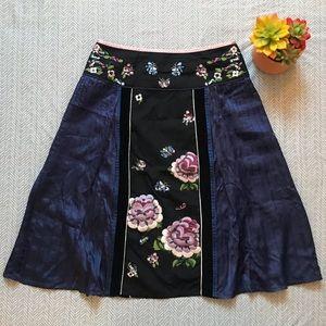 Odille Flowy Floral Silk A-line Skirt